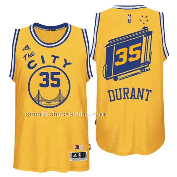 canotta Kevin Durant 35 Retro Golden State Warriors giallo
