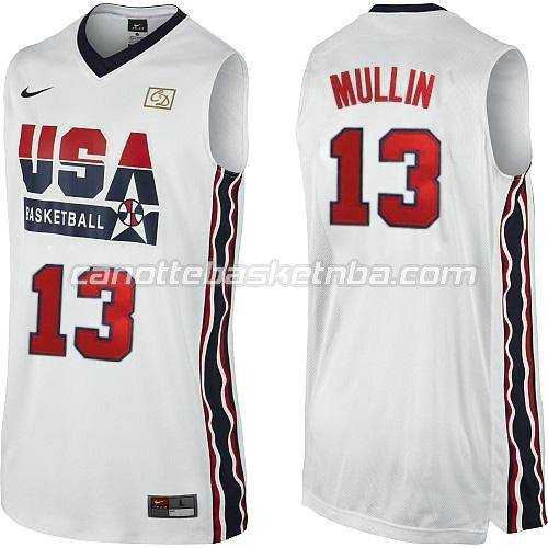 maglie basket chris mullin #13 nba usa 1992 bianca