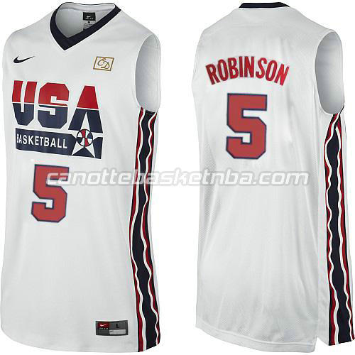maglie basket david robinson #5 nba usa 1992 bianca