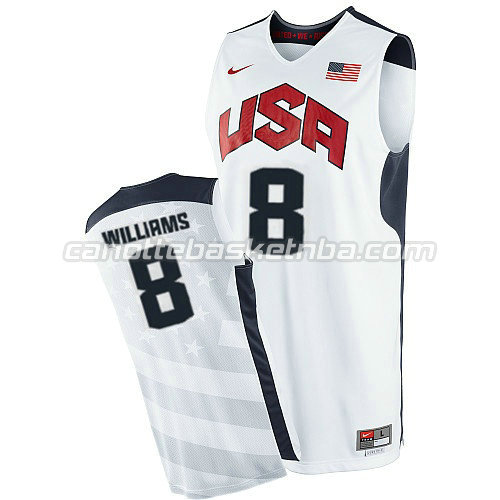 maglie basket deron williams #8 nba usa 2012 bianca