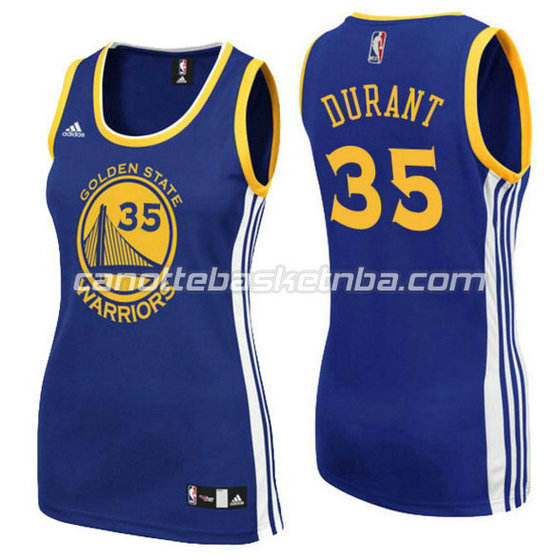 canotta basket donna kevin durant 35 golden state warriors blu
