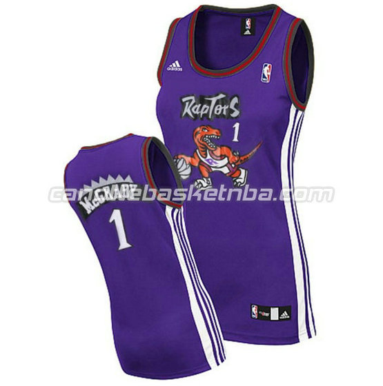 canotta basket donna tracy McGrady 1 toronto raptors porpora