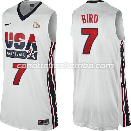 maglie basket larry bird #7 nba usa 1992 bianca