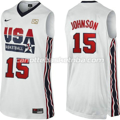 maglie basket magic johnson #15 nba usa 1992 bianca