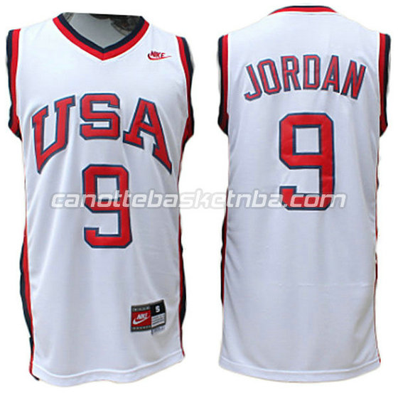 maglie basket michael jordan #9 nba usa 1984 bianca