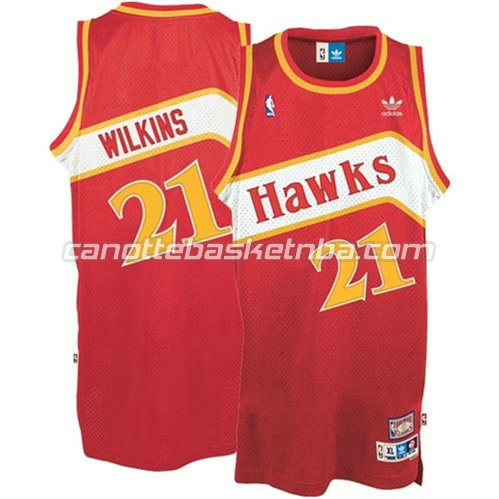 canotta atlanta hawks dominique wilkins #21 retro rosso