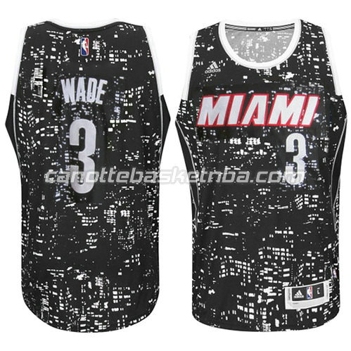 canotta basket dwyane wade #3 miami heat lights nero