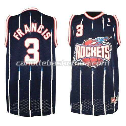 canotte nba steve francis #3 houston rockets retro blu
