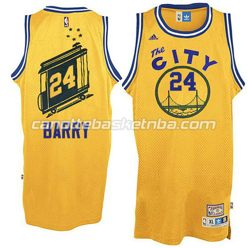 canotta rick barry #24 golden state warriors throwback giallo