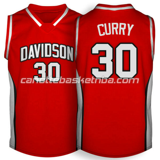 canotte ncaa davidson 2007-2009 stephen curry #30 rosso