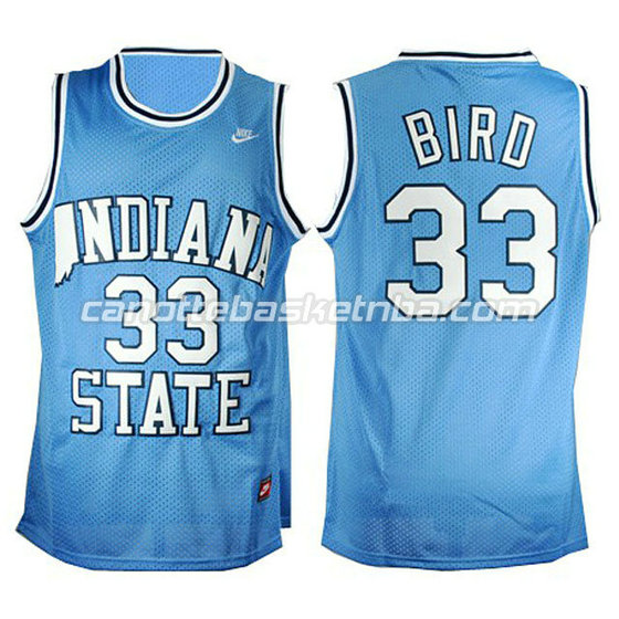 canotte ncaa indiana state larry bird #33 blu