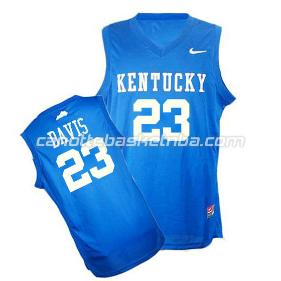 canotte ncaa kentucky wildcats anthony davis #23 blu