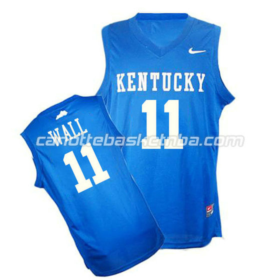 canotte ncaa kentucky wildcats john wall #11 blu