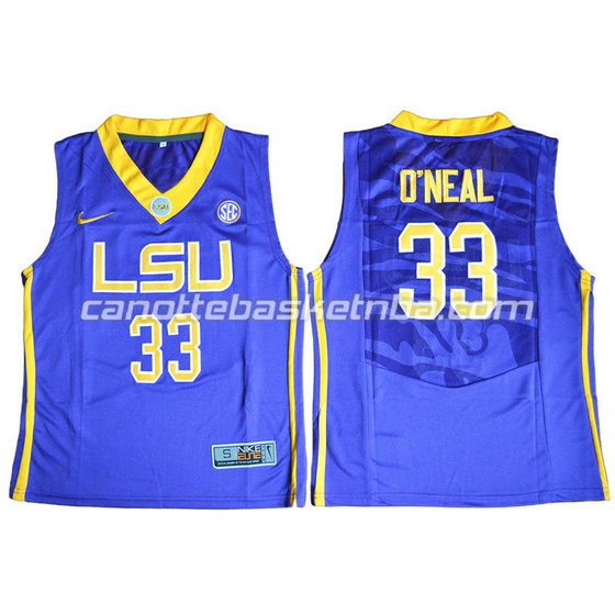 canotte ncaa louisiana state university shaquille o'neal #33 blu