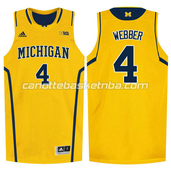 canotte ncaa michigan wolverines chris webber #4 giallo