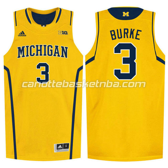 canotte ncaa michigan wolverines trey burke #3 giallo