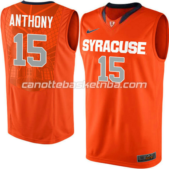 canotte ncaa syracuse orange carmelo anthony #15 arancia