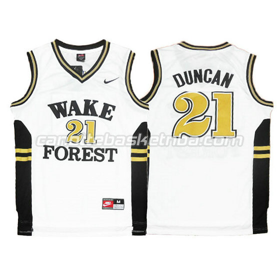 canotte ncaa wake forest demon deacons tim duncan #21 bianca