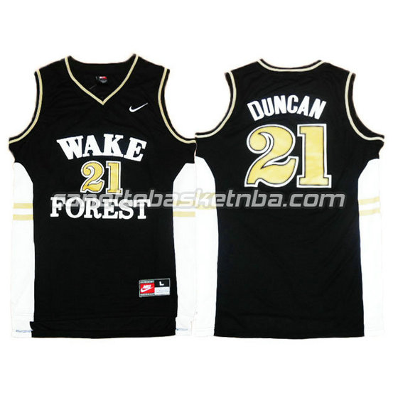 canotte ncaa wake forest demon deacons tim duncan #21 nero