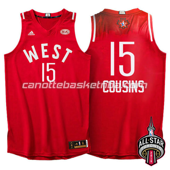 maglia basket DeMarcus cousins #15 nba all star 2016 rosso