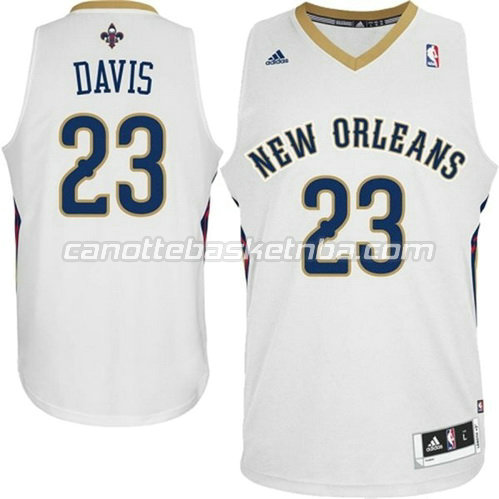 maglia anthony davis #23 new orleans pelicans 2014-2015 bianca
