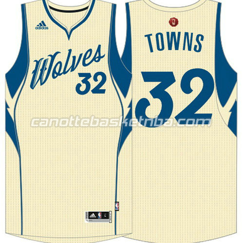 maglia anthony towns #32 minnesota timberwolves natale 2015 giallo