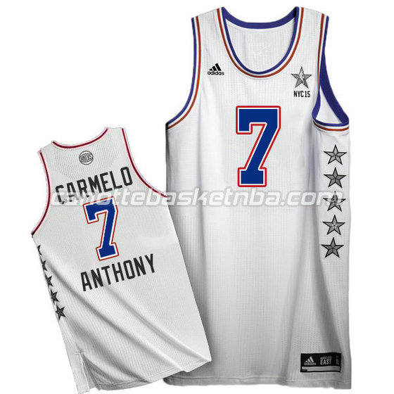 canotte basket carmelo anthony #7 nba all star 2015 bianca