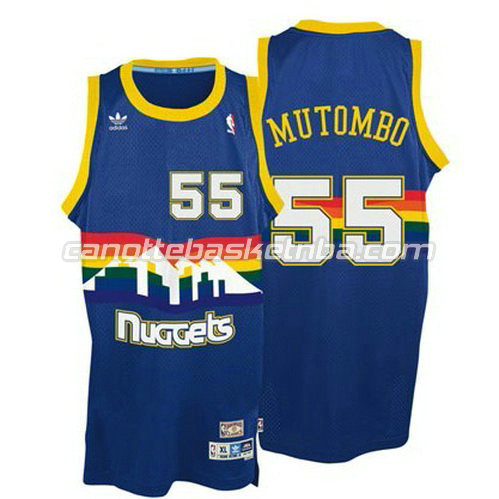maglie nba denver nuggets con dikembe mutombo #55 blu