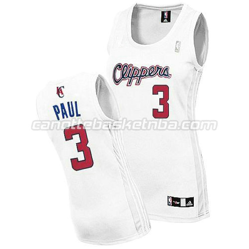 maglie nba donne los angeles clippers con chris paul #3 bianca