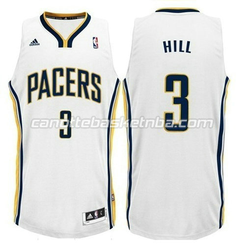 maglia george hill #3 indiana pacers revolution 30 bianca