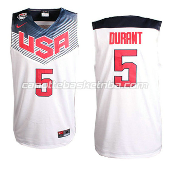 canotte basket kevin durant #5 nba usa 2014 bianca
