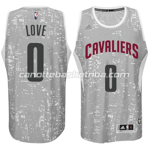 maglia kevin love #0 cleveland cavaliers lights grigio