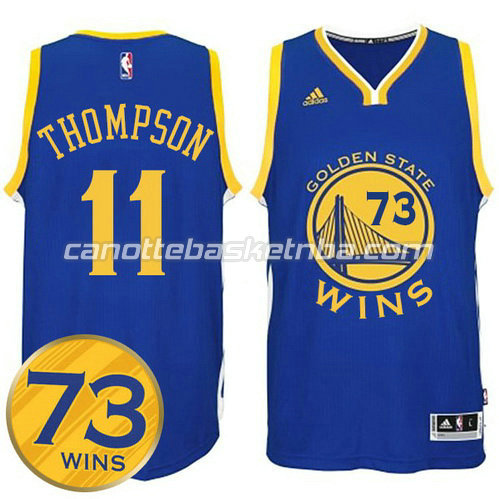 maglia klay thompson #11 golden state warriors 73 wins 2016 blu