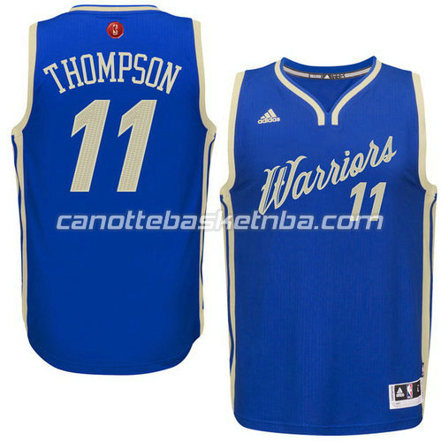 canotta klay thompson #11 golden state warriors natale 2015 blu