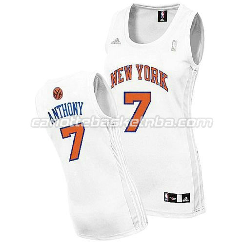 maglia nba donna new york knicks carmelo anthony #7 bianca