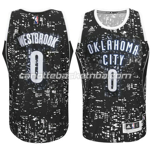 maglia oklahoma city thunder con russell westbrook #0 lights nero
