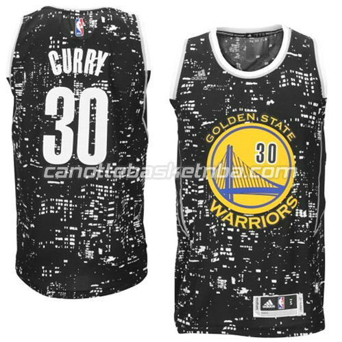 maglia stephen curry #30 golden state warriors lights nero