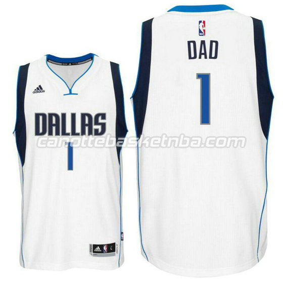 canotta dad logo 1 dallas mavericks 2015-2016 bianca
