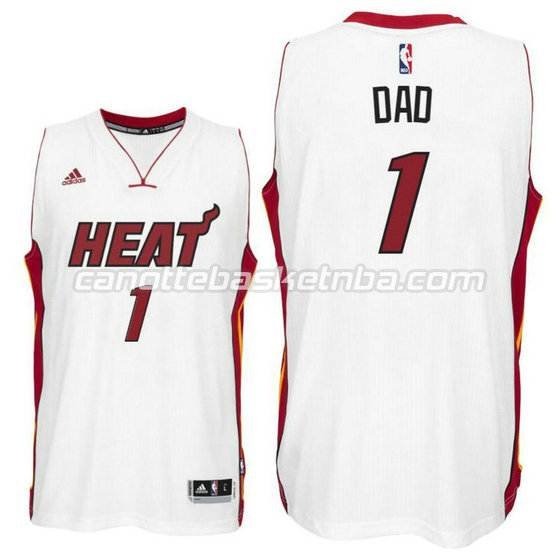 canotte nba miami heat 2016 con dad logo 1 bianca