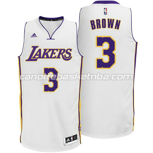 maglie anthony brown #3 los angeles lakers alternato bianca