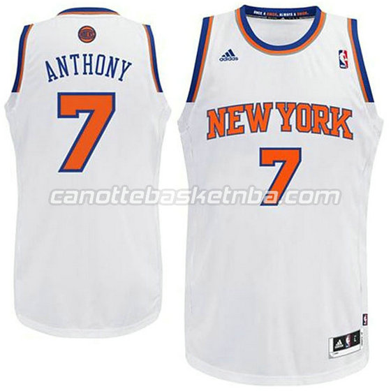 canotte basket bambini new york knicks carmelo anthony #7 bianca