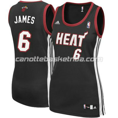canotta basket donna miami heat con LeBron James #6 nero