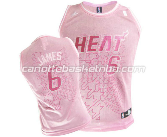 canotta basket donna miami heat con LeBron James #6 rosa