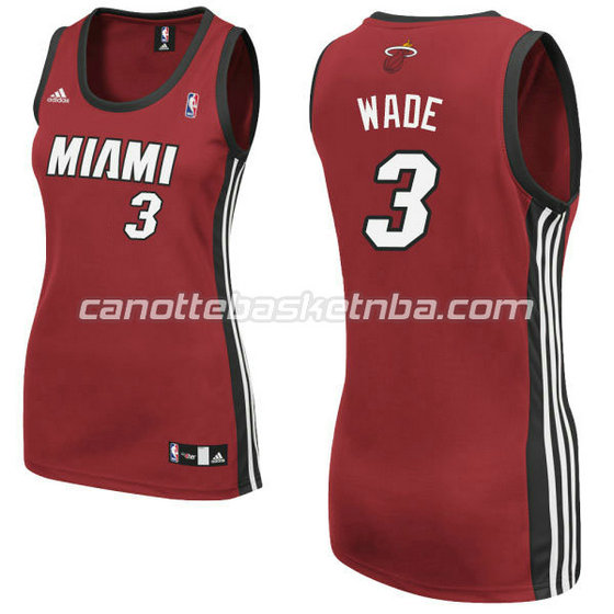 canotta basket donna miami heat con dwyane wade #3 rosso