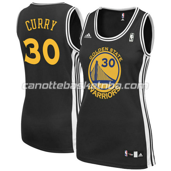 canotta basket donna stephen curry #30 golden state warriors nero