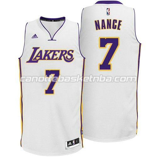 maglie larry nance #7 los angeles lakers alternato bianca