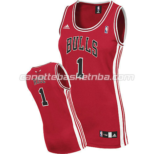 canotta nba donna chicago bulls derrick rose #1 rosso