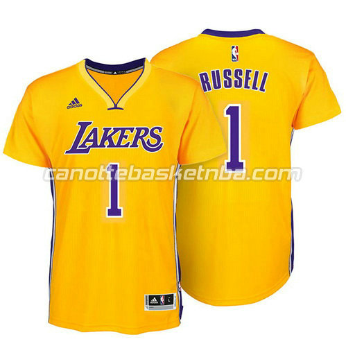 maglietta d'angelo russell #1 los angeles lakers giallo