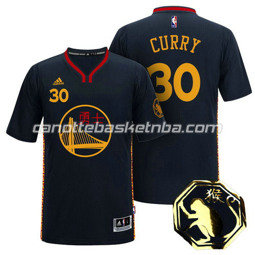 maglietta stephen curry #30 golden state warriors cinese 2016 nero